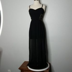 Forever 21 Cage Stud Sheer Black Maxi Dress Sm